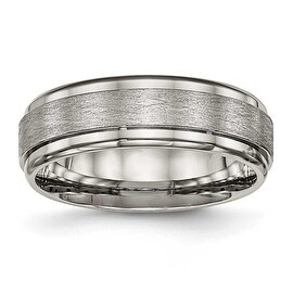 Titanium Brushed and Polished Ridged Edge Ring (7 mm)