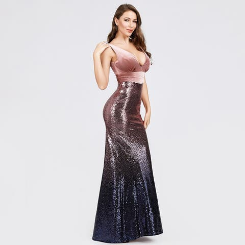 Ever-Pretty Women's Bodycon V-Neck Velvet Sequin Formal Evening Party Dress 07767