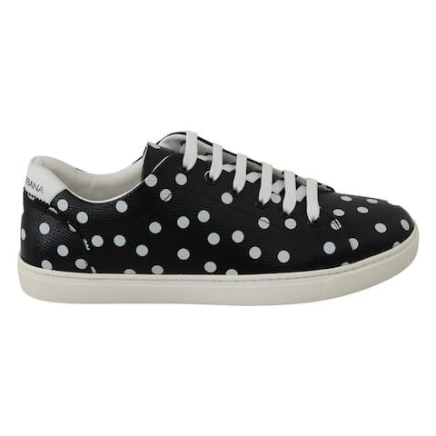 Dolce & Gabbana Black Leather Polka Dots Sneakers Women's Shoes - eu40-us9-5