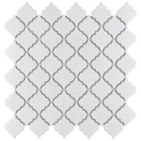 """SomerTile Hudson Tangier Crystalline White 12.38"""" x 12.5"""" Porcelain Mosaic Tile"""
