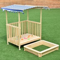 Costway Beach Cabana Sandbox Retractable Playhouse With Canopy Kids Children Outdoor Toy