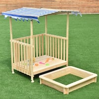 Costway Beach Cabana Sandbox Retractable Playhouse With Canopy Kids Children Outdoor Toy - Blue