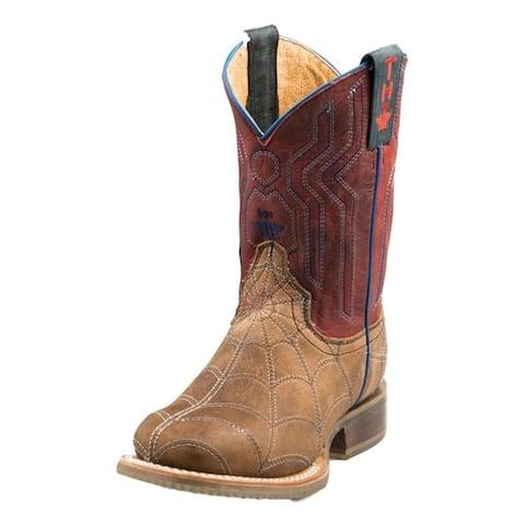 """Tin Haul Western Boot Boy 8"""" Spider Sole Brown"""