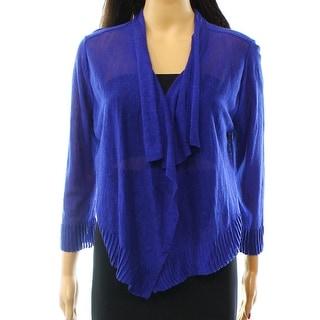 INC NEW Goddess Blue Womens Size XL Draped Open-Front Linen Cardigan