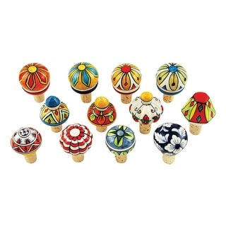 """Twine 2352 bulk Country Cottage Bottle Stopper, Ceramic/Cork, Assorted, 3"""" x 2"""""""
