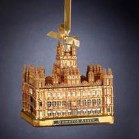 "4.25"" Golden Brown Glass Downton Abbey Highclere Castle Christmas Ornament"