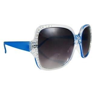 Bright Blue Retro 70`s Style Sunglasses Gradient Lenses