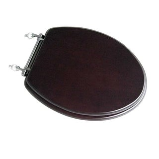 Elongated Toilet Seat Solid Wood Dark Oak Chrome Hinge | Renovatoru0027s Supply