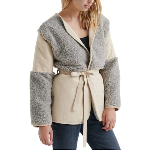 Lucky Brand Womens Faux Fur Paneled Coat