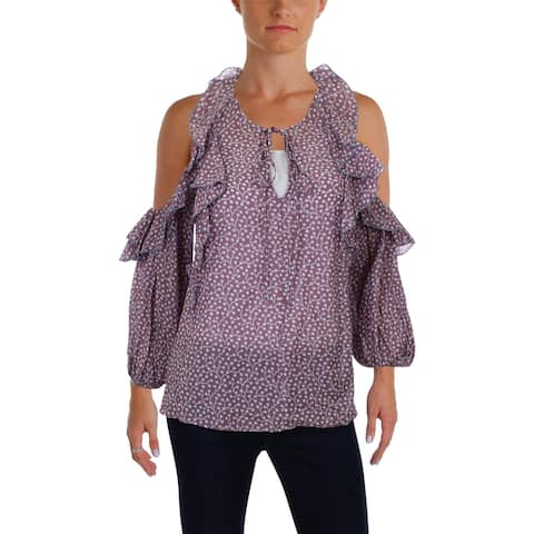 French Connection Womens Pullover Top Ruffled Front Tie - S
