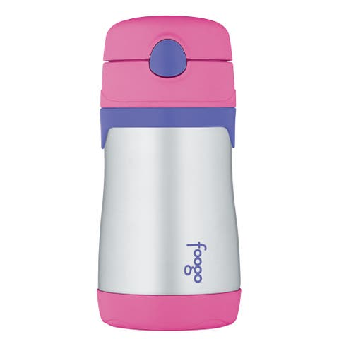 Thermos foogo leak-proof straw bottle pink