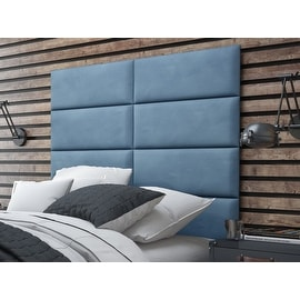 Vant Upholstered Wall Panels (Headboards) Sets of 4 - Micro Suede Ocean Blue - 30 Inch - Full-Queen.