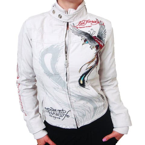Ed Hardy Women's Jacket Beige Size XS Panther & Roses Embroidered