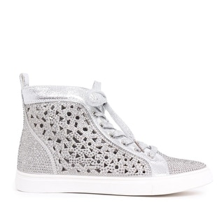 Embellished Metallic Lasercut High-Top Sneaker