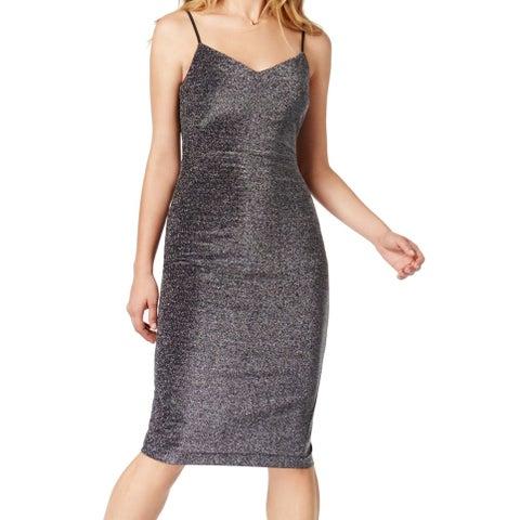 1. State Gray Black Womens Size 12 Metallic Stretch Sheath Dress