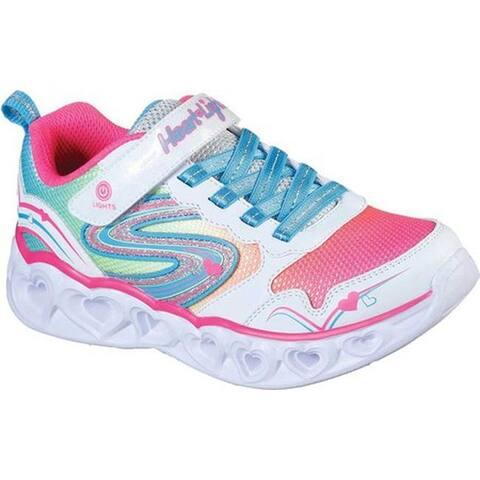 Skechers Girls' S Lights Heart Lights Love Spark Sneaker White/Multi
