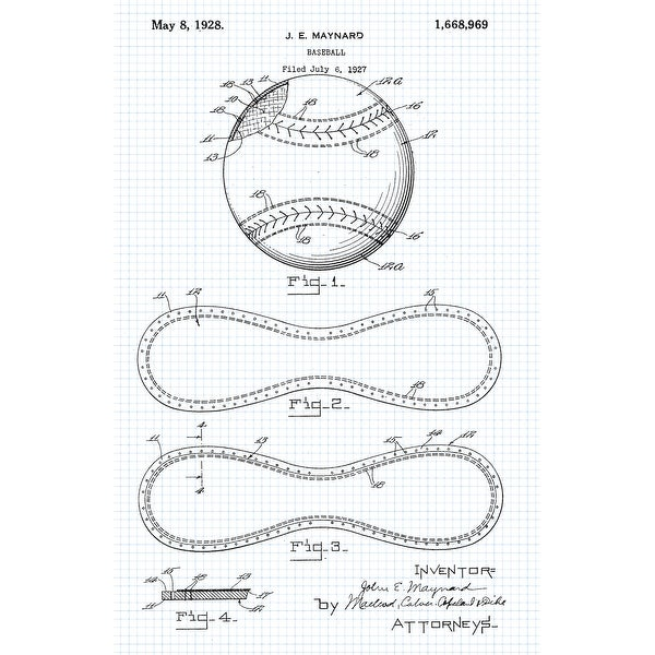 Baseball Patent Poster (Graphite on Blue Graph) - Sports Patents - 24x16 Poster