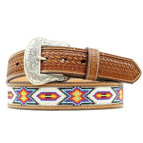 Ariat Western Belt Mens Beaded Inlay Basket Tooled Brown