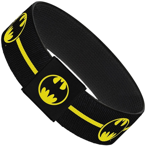 Batman Bat Signal Single Stripe Black Yellow Elastic Bracelet