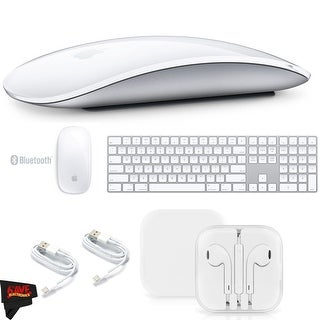 Apple Magic Mouse 2 MLA02LL/A + Apple Magic Wireless Keyboard with Numeric Keypad MQ052LL/A + MicroFiber Cloth Bundle