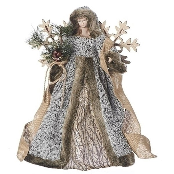 16 Gray And Brown Christmas Decorative Angel Tree Topper With Snowflake Wings Black