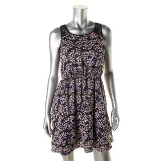 Erik + Lani Womens Juniors Floral Print Cut-Out Casual Dress