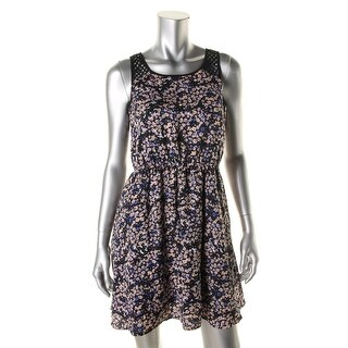 Erik + Lani Womens Juniors Casual Dress Floral Print Cut-Out