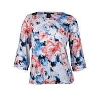 Alfani Women's Feminine Floral Fringe Blouson Blouse - Multi