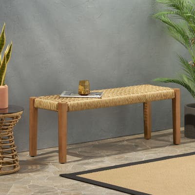 """Angie Outdoor Modern Industrial Acacia Wood Bench by Christopher Knight Home - 43.25"""" W x 15.75"""" D x 16.25"""" H"""