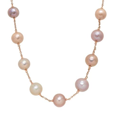 """Honora 12-16 mm Multicolored Freshwater Ming Pearl Station Chain Necklace in 14K Rose Gold, 18"""" - Multi-Color"""