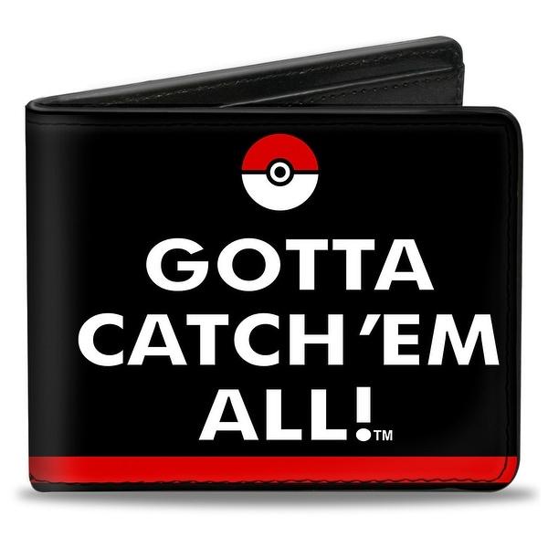 Pok Ball Gotta Catch 'Em All + Logo Stripe Black Red White Bi Fold Wallet - One Size Fits most