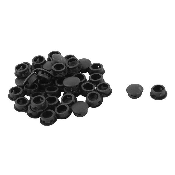 Unique Bargains 40 Pcs Antislip Plastic Round 8mm Dia Chair Foot Cover Table Furniture Leg Protector Black