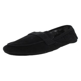 Zara Mens Faux Suede Faux Fur Lined Moccasin Slippers