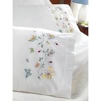 """Stamped Embroidery Pillowcase Pair 20""""X30""""-Butterflies In Flight"""