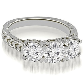 1.50 cttw. 14K White Gold Vintage Three-Stone Round Cut Diamond Engagement Ring