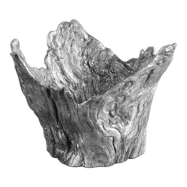 "12"" Tree Stump Wood Textured Silver Bowl - N/A"