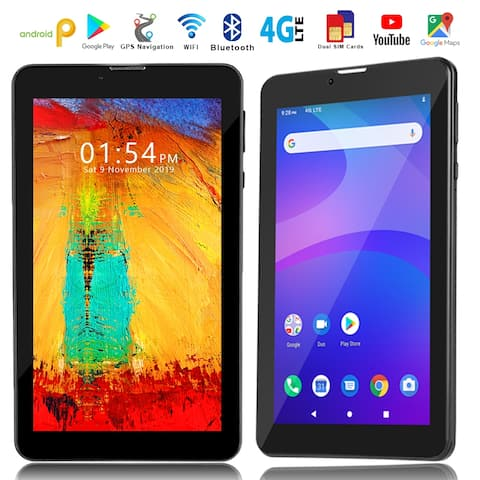 4G LTE Unlocked 7-inch SmartPhone & TabletPC by Indigi (QuadCore, Android 9 Pie + DualSIM) + 32gb microSD - Black