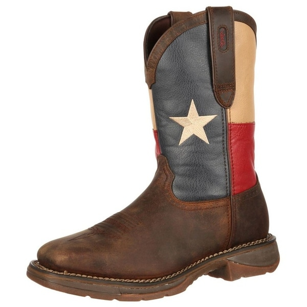 Durango Western Boots Mens Rebel Texas Flag ST Square Brown