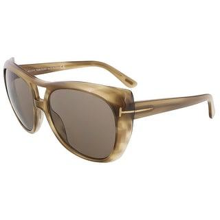 Tom Ford TF 294/S 59J Claudette Khaki Full Rim Oversized Aviator Sunglasses