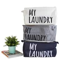 G Home Collection Drawstring Top My Laundry Basket with Handles in Blue Gray and White (Set of 3)