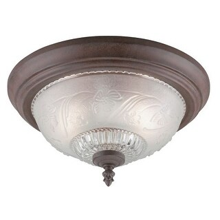Westinghouse 6431600 2 Light Flush Mount Ceiling Fixture with Embossed Floral Glass Shade