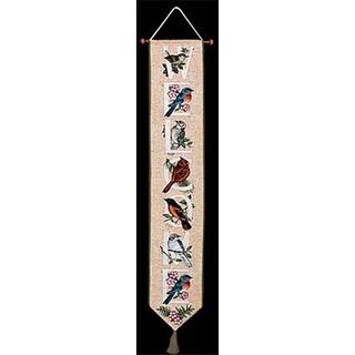 Bird Watchers Alphabet Woven Tapestry Bell Pull Vertical 6.75 X 41
