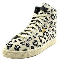 Puma Basket Mid x HOH LEONINE Women  Round Toe Canvas White Sneakers