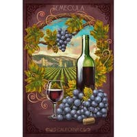 Temecula, CA - Merlot Wine Scene - LP Artwork (100% Cotton Towel Absorbent)