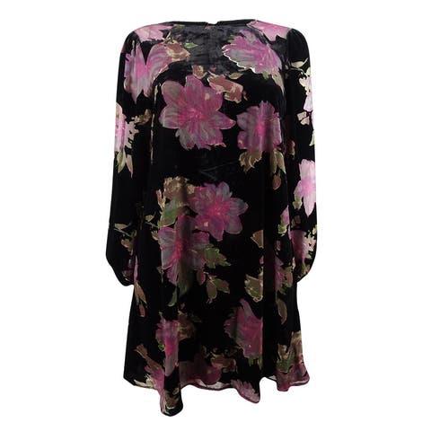 Calvin Klein Women's Floral Burnout Velvet Shift Dress