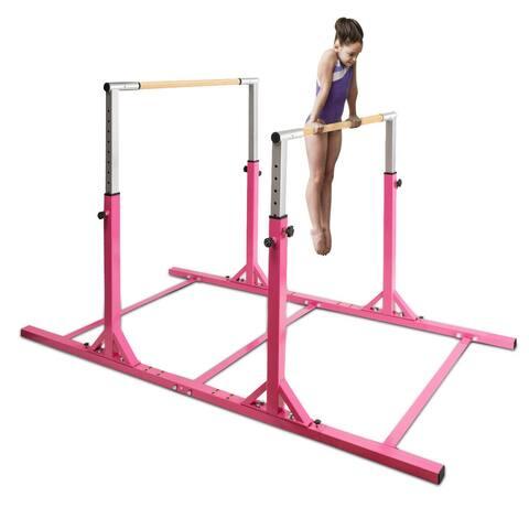 Costway Kids Gymnastics Parallel Bars Double Horizontal Bars - Pink