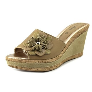 Azura Narcisse Women Open Toe Leather Wedge Sandal