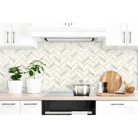 NextWall Chevron Marble Tile Peel and Stick Wallpaper