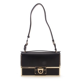 Salvatore Ferragamo Medium Flap Ginny Leather Shoulder Handbag - Black - S