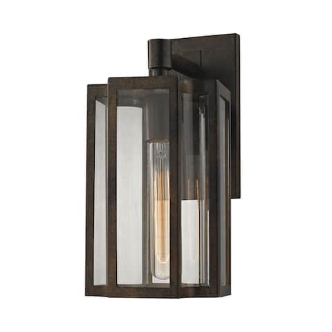 Transitional Rectangular One Light Outdoor Wall Mount with Slender Lines and Exposed Bulb - Outdoor